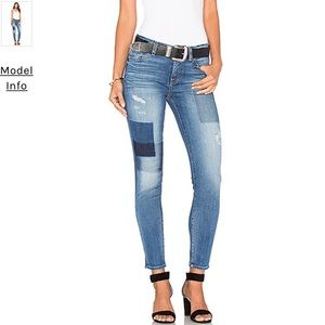 7 For All Mankind Patch Ankle Skinny Jean 28